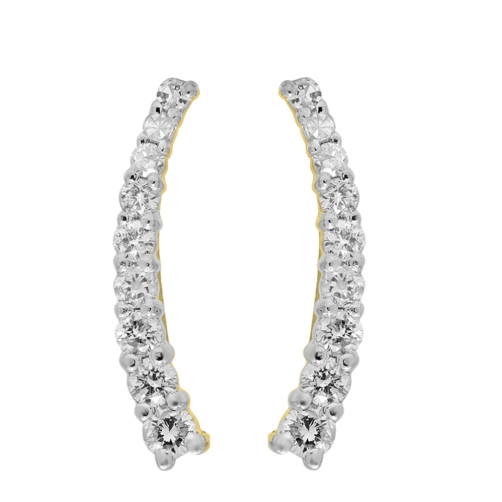 0.25 Carat (Ctw) 14K Yellow Gold Round Cut White Diamond Ladies Crawler Climber Earrings 1/4 CT