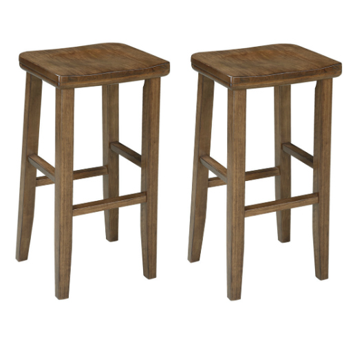 Ashley Birnalla D585-130 30; High Stool with Scooped Seat Tapered Legs and Wood Grain Look in Light Brown Finish