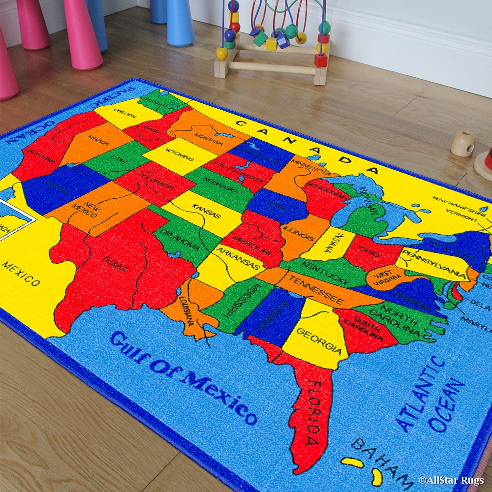 Allstar Kids / Baby Room Area Rug. USA Map. Fifty States. Bright Colorful
