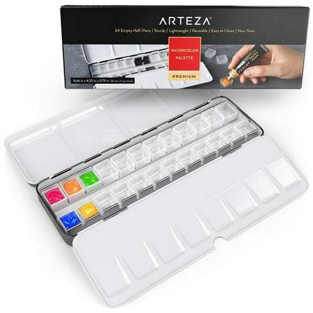 Arteza Empty Watercolor Palette Tin, 24-Piece Half Pans, Use as a Travel Watercolor Set with Watercolor Paints