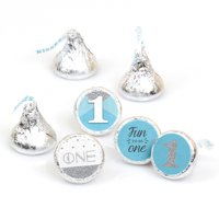 1st Birthday Boy - Fun to be One First Birthday Party Round Candy Sticker Favors Labels Fit Hershey's Kisses-108 Ct