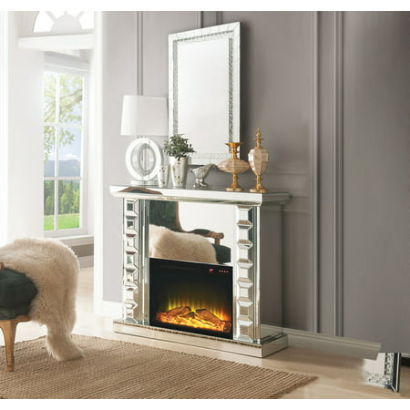 ACME Dominic Free Standing Mirrored Fireplace with Remote - Contemporary Freestanding Fireplace