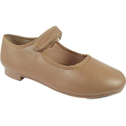 Dance Class by Trimfoot Girl's Caramel Velcro Mary-Jane Tap Shoe