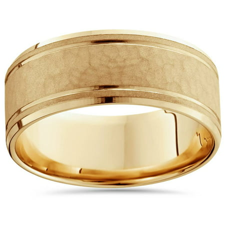 8mm Hammered Mens Wedding Band 14K Yellow Gold - image 2 of 2