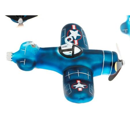 Blue Fighter Bomber Plane Glass Holiday Christmas (Bieber Glasses)