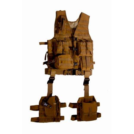 Ultimate Arms Gear Tactical Fde Flat Dark Earth Tan Molle 10 Piece Complete Kit Set Modular Web Vest  Cell Phone Radio Pouch   Dropleg Pistol Ambi Holster   Multi Purpose Dump Drop Leg Platform Rig