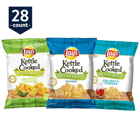 Lay's Kettle Cooked 40% Reduced Fat, Variety Pack, 1.375 oz Bags, 28 Count (No Cook Halloween Snacks)