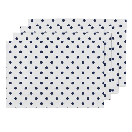 Cloth Placemats Polka Dots Chloe Dot Ink 1 Blue And White Preppy Navy Set of 4