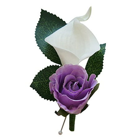 Boutonniere For Wedding And Prom - Artificial Flowers - nice quality calla lily and rose for wedding and prom (Lavender) (Red Wooden Roses)
