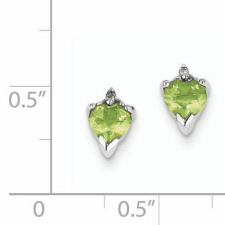 Sterling Silver Rhodium Heart Peridot & Diamond Post Earrings QDX807 - image 2 de 2