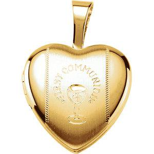 Gold Plated & Sterling Silver First Communion Heart Locket