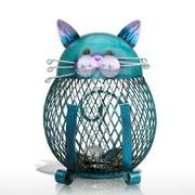 Tooarts Iron Asymmetrical Cat Piggy Banks & Money Jars, Blue