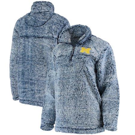 Michigan Wolverines Women's Sherpa Super Soft Quarter Zip Pullover Jacket - Navy