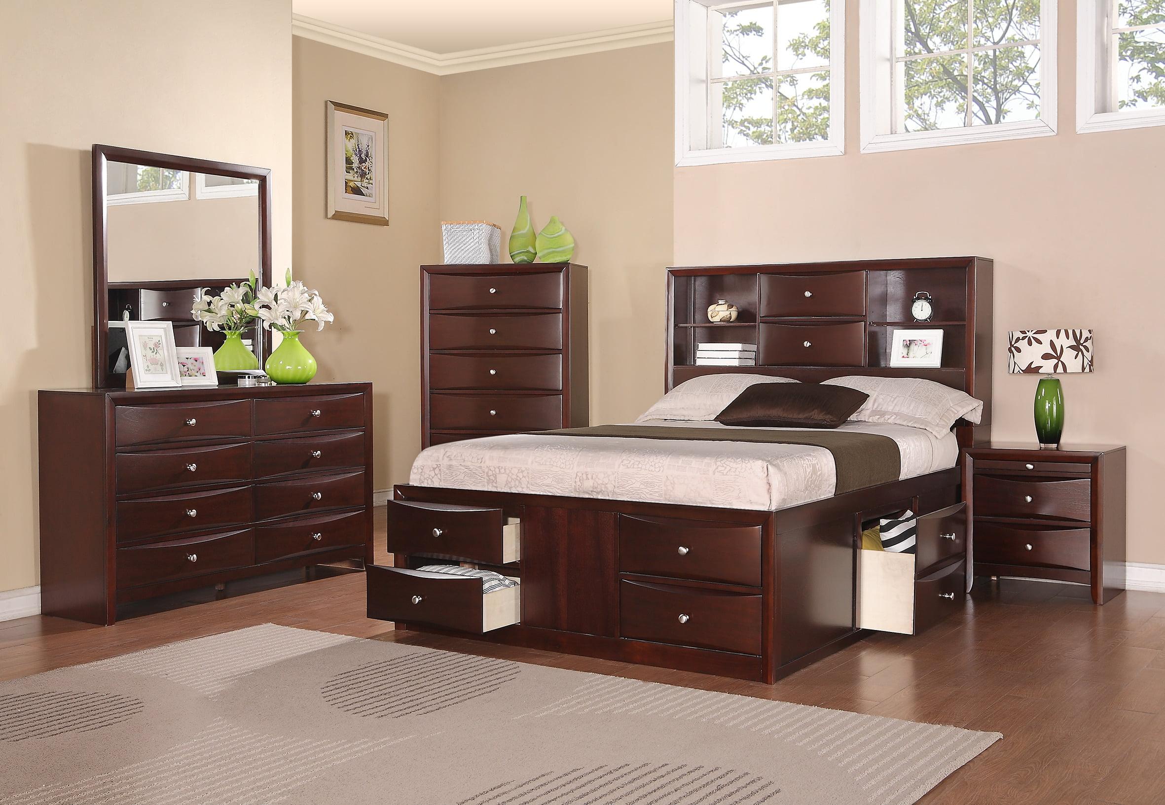 Bedroom Furniture Storage Drawers HB FB California King Size Bed Dresser  Mirror Nightstand 4pc Set Pine Wood Espresso Modern Set