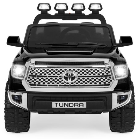 Best Choice Products 12V Kids Battery Powered Remote Control Toyota Tundra Ride On Truck w/ LED Lights, Music, Storage Compartment - Black