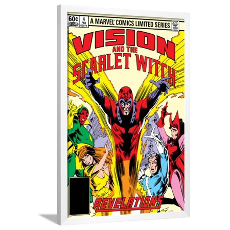 Vision And The Scarlet Witch No.4 Cover: Magneto, Vision, Scarlet Witch, Quicksilver and Crystal Framed Poster Wall Art By Rick Leonardi
