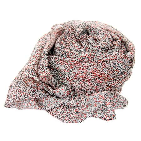 Women's Miniature Dots Polyester Scarf Black/Orange Scarf Wrap 40 x 70 - Polyester Wrap