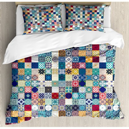 Moroccan Duvet Cover Set, Oriental Eastern Pattern with Grid Style Patchwork Ornament Tiles Design Asian, Decorative Bedding Set with Pillow Shams, Multicolor, by Ambesonne ()