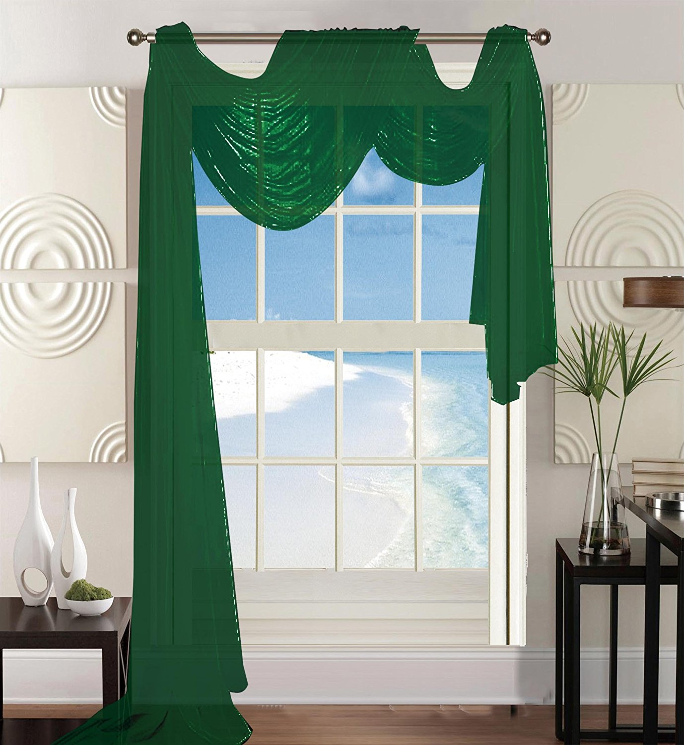 "Elegant Comfort Beautiful Window Panel Curtain Sheer Voile Scarf 55"" X 216"" Hunter Green"