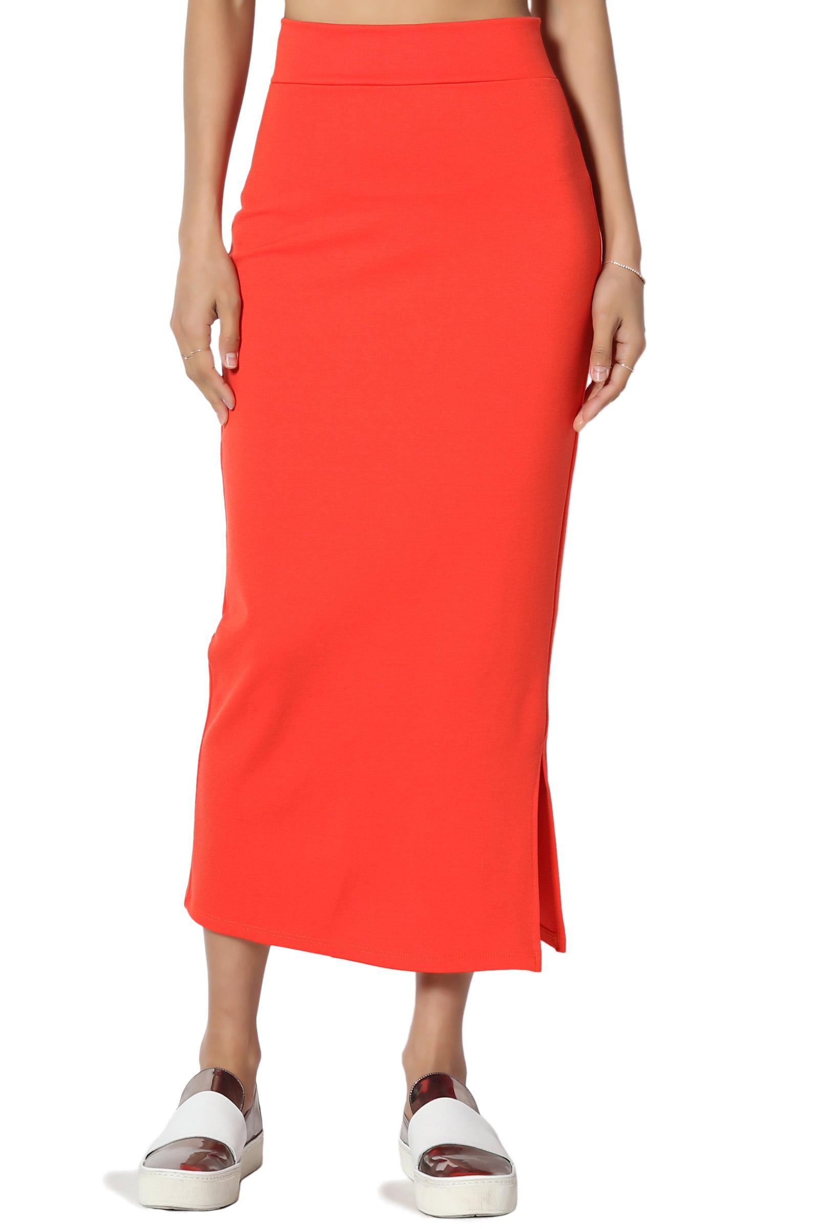 f32a6276de TheMogan - TheMogan Women's S~3X Side Slit Ponte Knit High Waist Mid Calf  Long Pencil Skirt - Walmart.com