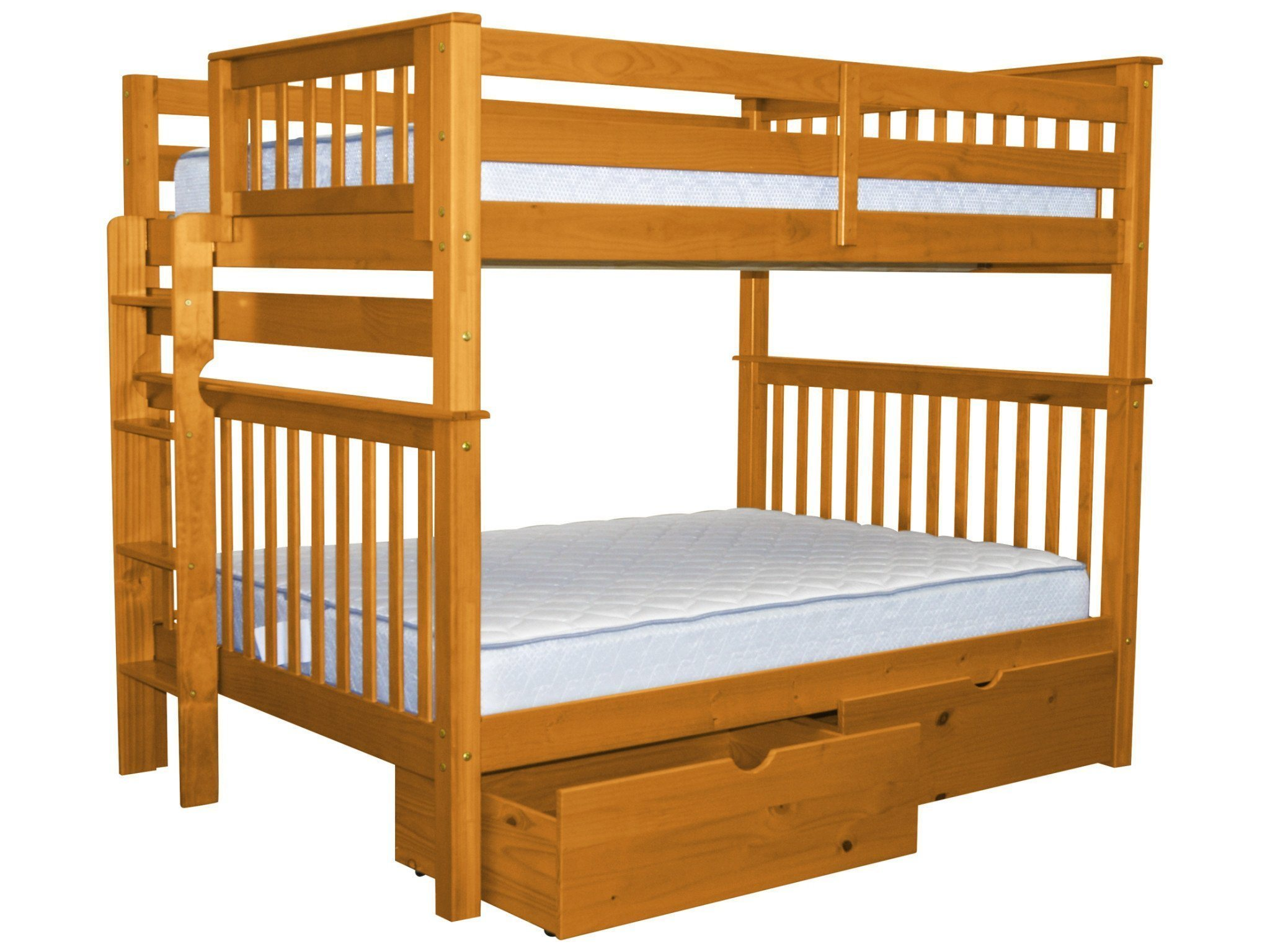Bedz King Bunk Beds Full Over Full Mission Style With End