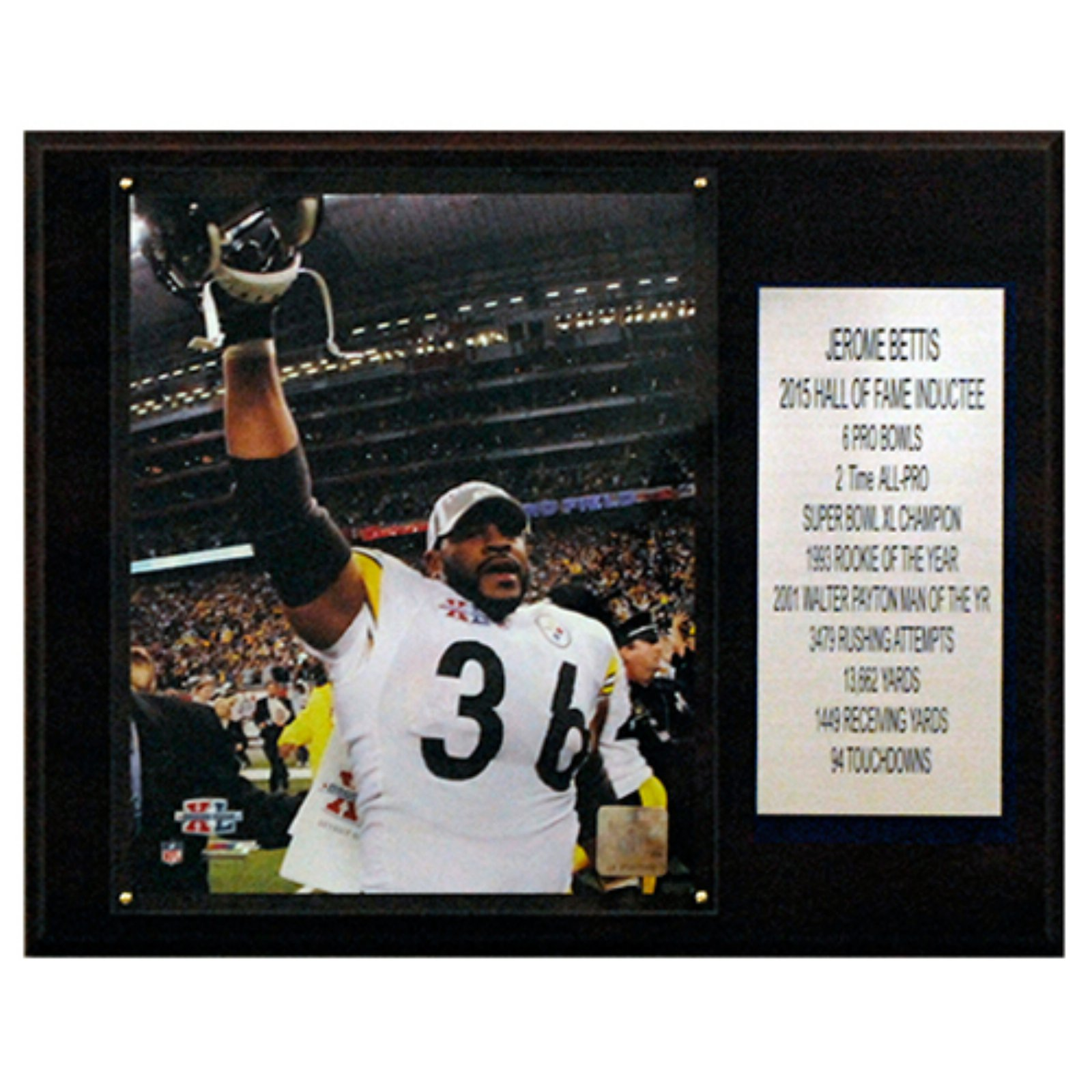 C and I Collectables NFL 15W x 12H in. Jerome Bettis Pittsburgh Steelers Career Stat Plaque