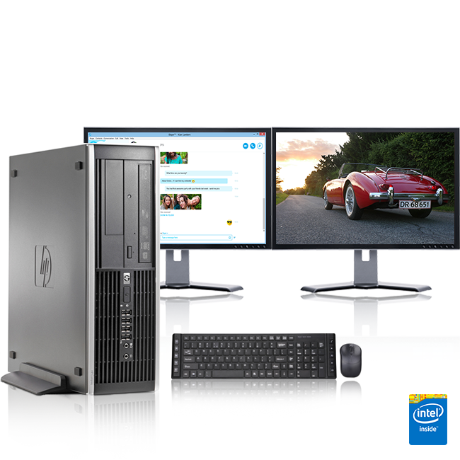 "HP DC Desktop Computer 3.0 GHz AMD Athlon Tower PC, 4GB, 500 GB HDD, Windows 7 x64, 17"" Dual Monitor , USB Mouse & Keyboard (Refurbished)"