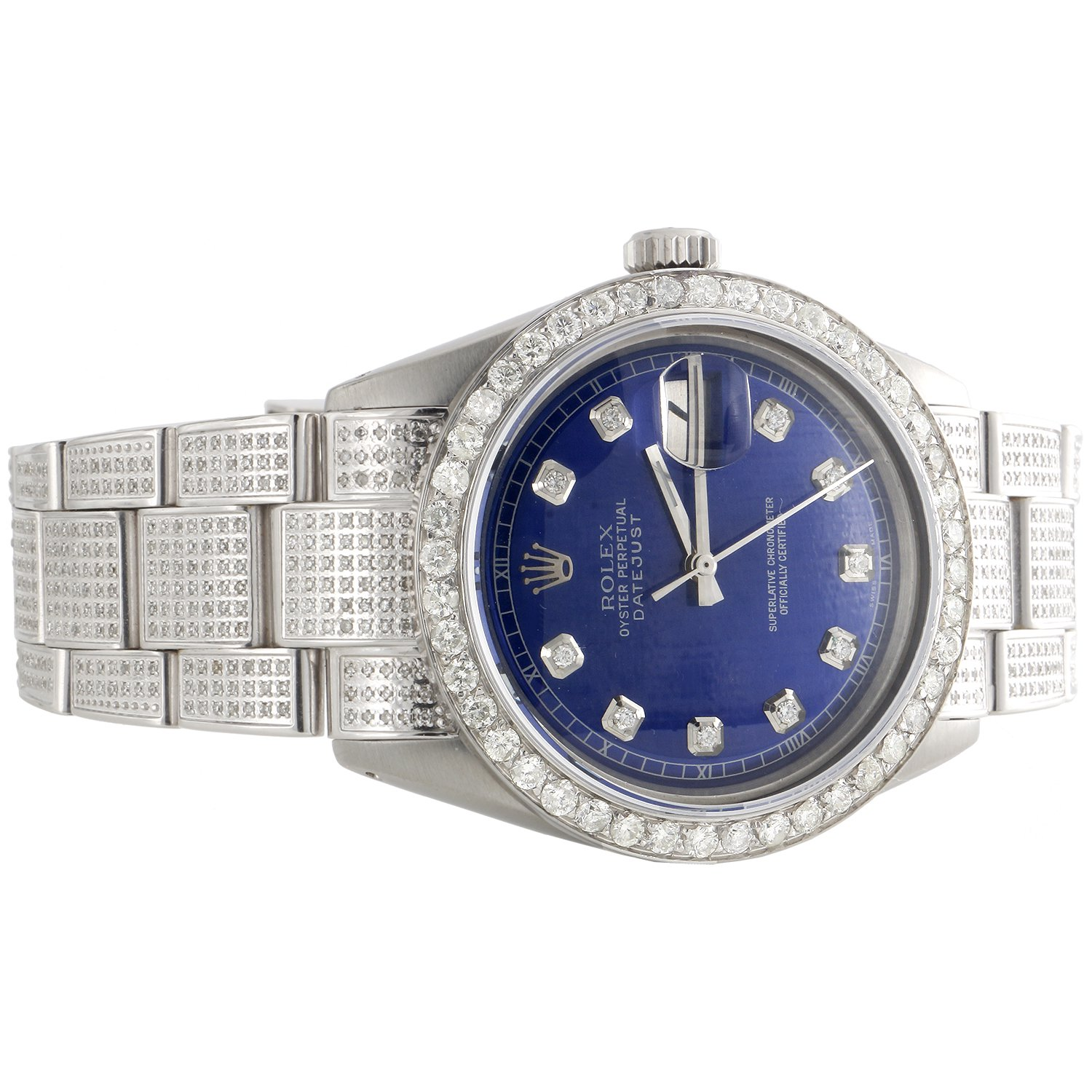 729e24af7 Mens Rolex 36mm DateJust Diamond Watch Fully Iced Band Custom Blue Dial  5.10 CT.