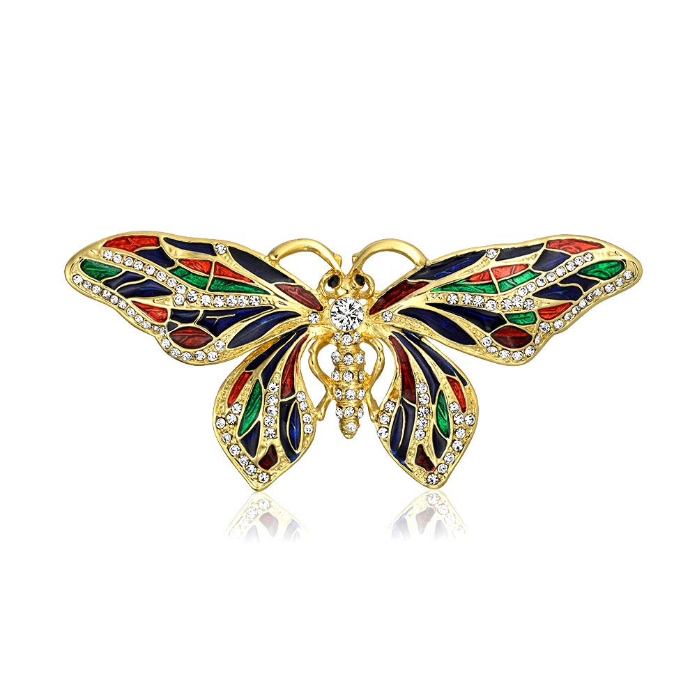 Bling Jewelry Gold Plated Multi Color Enamel Crystal Butterfly Brooch Animal Pin by Bling Jewelry