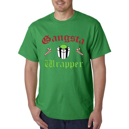 Trendy USA 588 - Unisex T-Shirt GANGSTA WRAPPER - CANDY CANES & GIFT WRAPPED CHRISTMAS 3XL Kelly Green ()