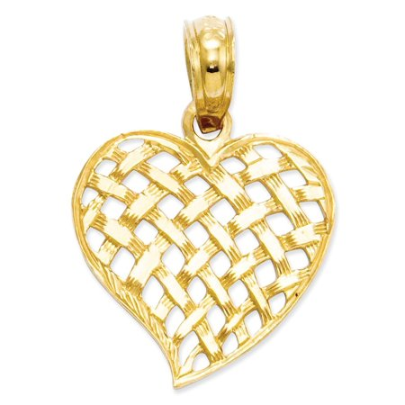 Weave Yellow Necklace - 14kt Yellow Gold Basket Weave Heart Pendant Charm Necklace Love Fine Jewelry Ideal Gifts For Women Gift Set From Heart