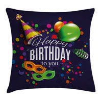 Birthday Decorations Throw Pillow Cushion Cover, Colorful Balloons Curling Ribbons Carnival Mask Party Hat and Confetti, Decorative Square Accent Pillow Case, 16 X 16 Inches, Multicolor, by Ambesonne
