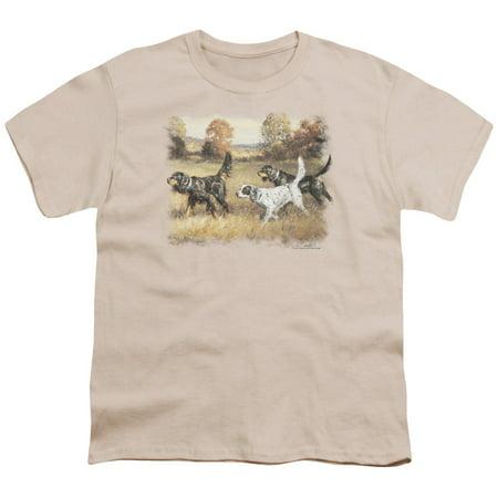Wildlife Button (Wildlife - Three Setters - Youth Short Sleeve Shirt - Medium)