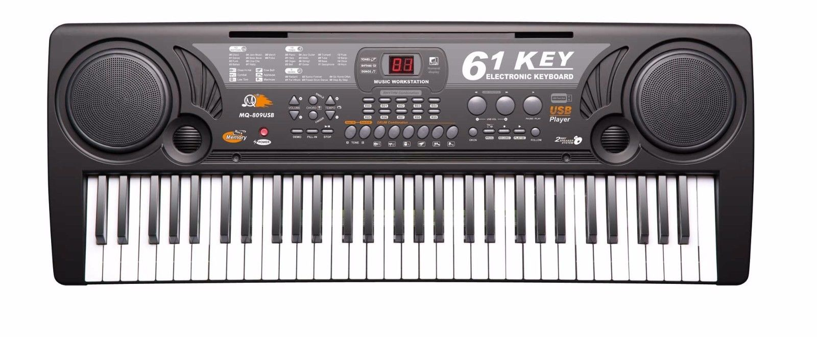 61 Key Electronic Music Keyboard Piano Electric Organ w  USB Input & Lessons by
