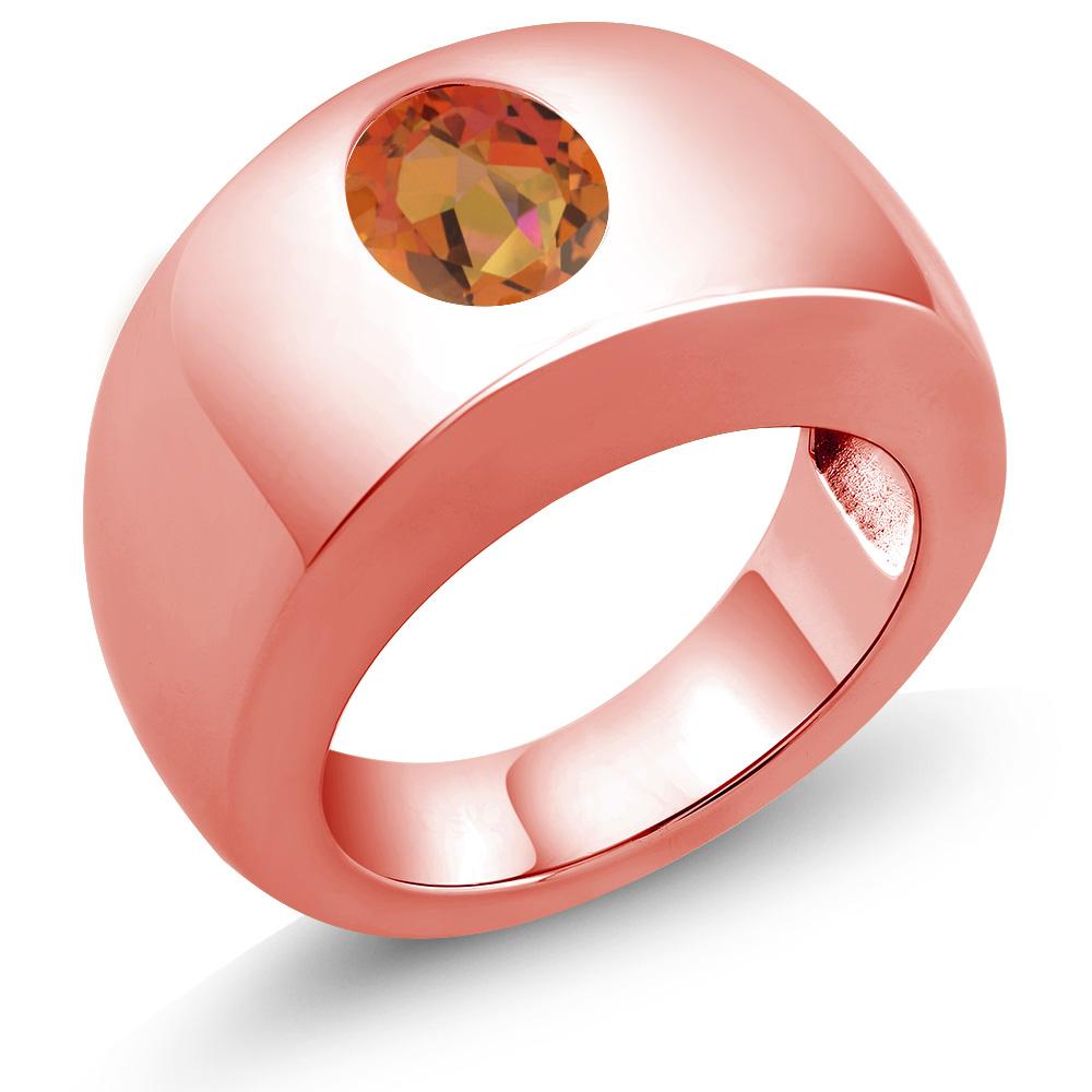 1.80 Ct Oval Twilight Orange VS Mystic Quartz 18K Rose Gold Men\'s ...