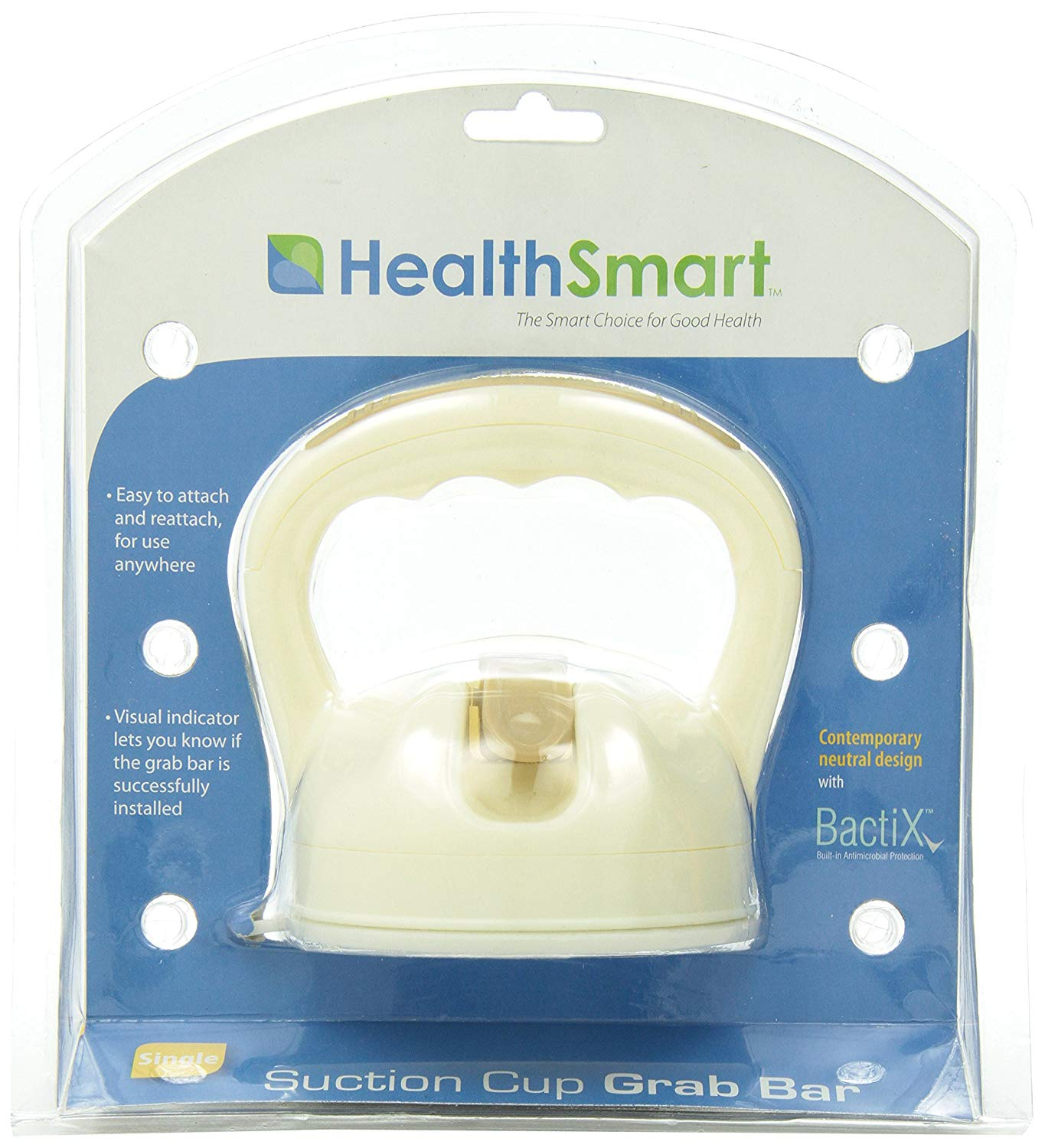 HealthSmart Suction Cup Grab Bars with Germ-Free Protection - Sand 4 Inch