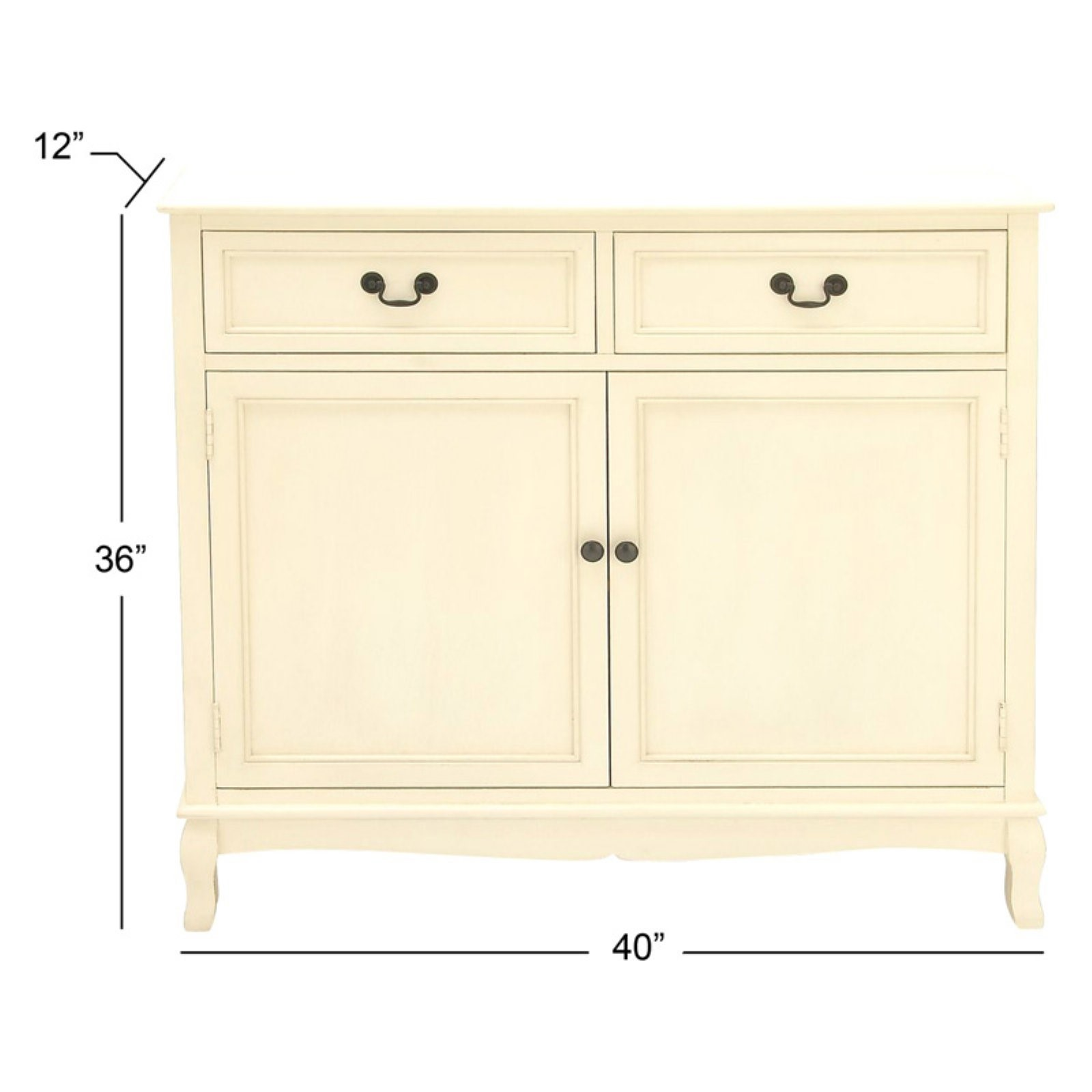 Decmode Farmhouse 36 X 40 Inch Wooden Two Door Cabinet With Top Drawers,  Cream White   Walmart.com