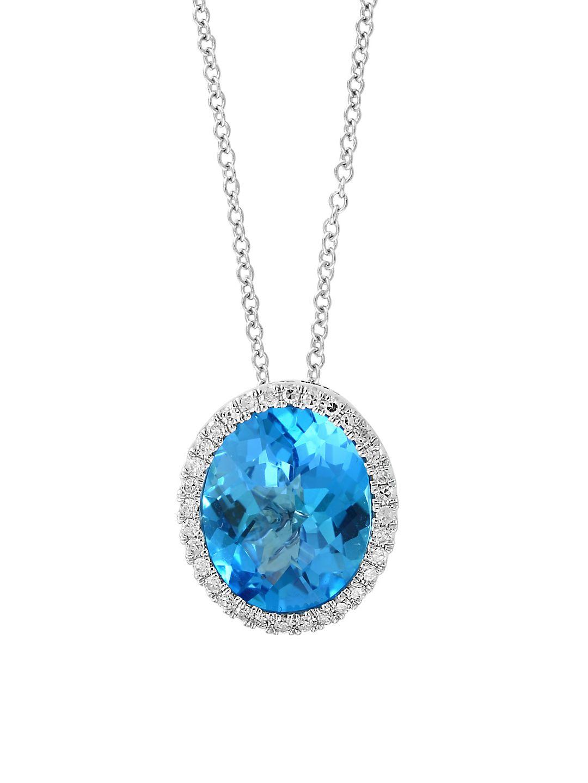 Diamond, Blue Topaz and 14K White Gold Pendant Necklace