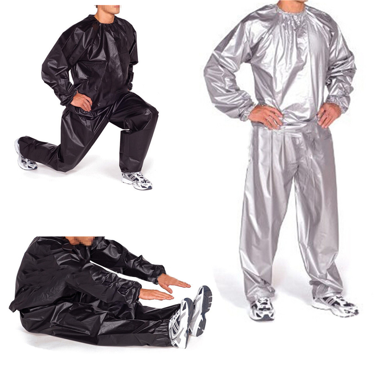 100% PVC Heavy Duty Unisex Fitness Loss Weight Sweat Suit Sauna Yoga Stretch Workout Suit Exercise Gym Size:L-4XL