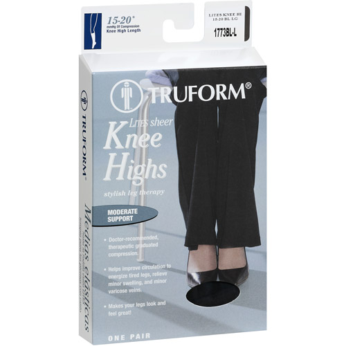 Truform Women's Sheer Compression Stockings (15-20 mmHg), Knee High, Black, Large