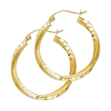 Womens Solid 14K Yellow Gold 2.6mm Diamond Cut Satin Hoop Earrings