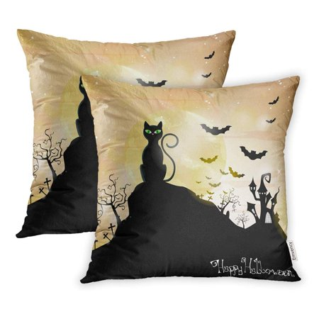USART Orange Cat Halloween Purple Black Silhouette Tree Bat Castle Celebration Creepy Pillowcase Cushion Cover 16x16 inch, Set of 2