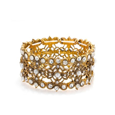 TAZZA WOMEN'S OXIDIZED ANTIQUE LOOK VINTAGE GOLD-TONE IMITATION PEARL AND CRYSTAL STRETCH BRACELETS #SWR-CP4794