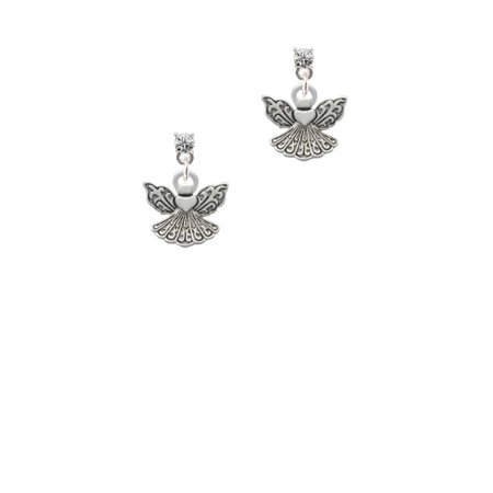 Silvertone Small Angel with Heart Clear Crystal Post Earrings