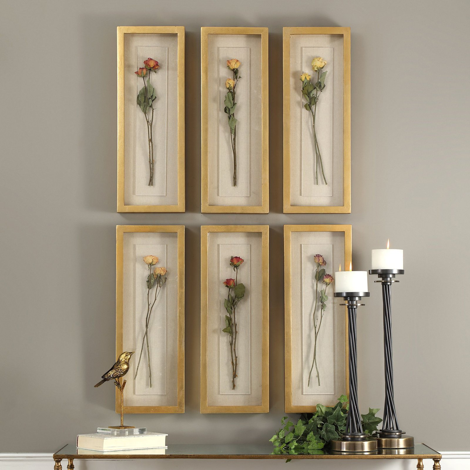 Uttermost Rosalie Long Stem Shadow Box - Set of 6