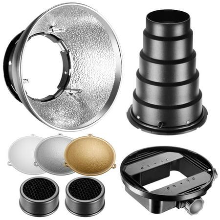 Neewer Beauty Dish Reflector Diffuser Lamp Shade with Honeycomb Grid Snoot, Gold/Silver/White Reflectors for Nikon SB-600,SB-800,SB-900,SB-910,Canon 380EX,430EXII,550EX,580EX II, 600EX-RT,Neewer TT560 ()