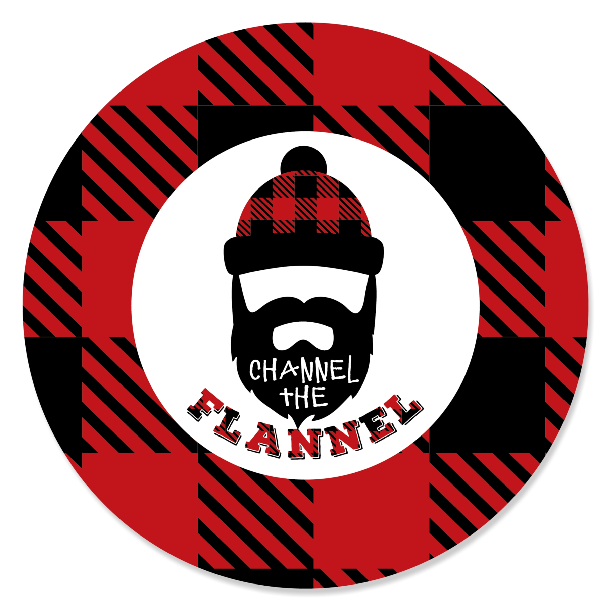 Lumberjack - Channel The Flannel - Buffalo Plaid Party Circle Sticker Labels - 24 Count