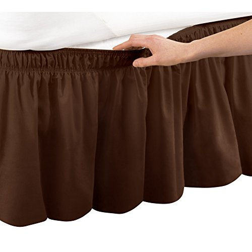 Collections Etc Elastic Bed Wrap Ruffle Bed Skirt, Queen/King, Brown