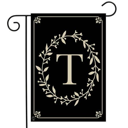 Briarwood Lane Classic Monogram Letter T Garden Flag Everyday 12.5