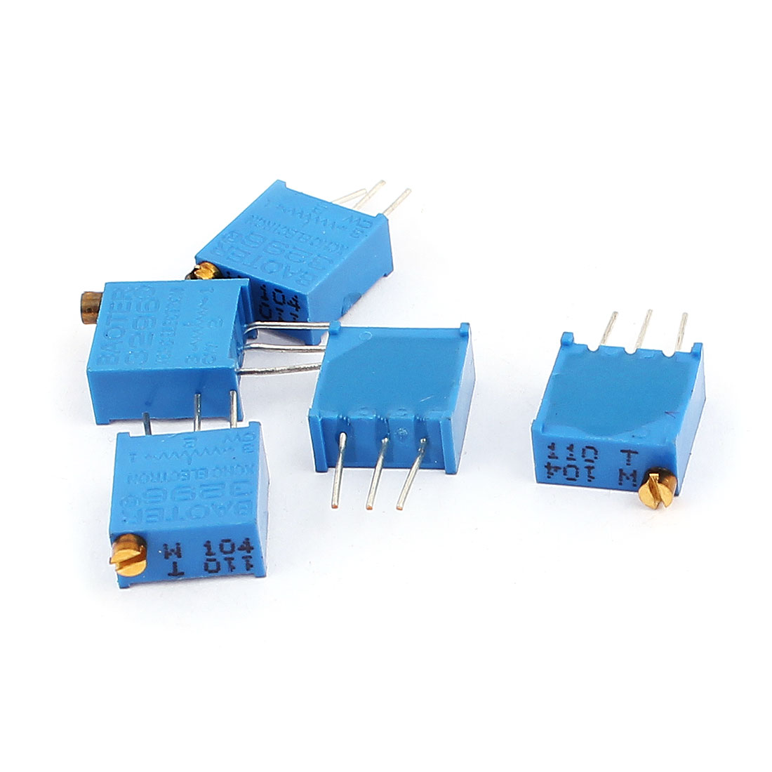 5 Pcs 3296w 100k Ohm Variable Resistor Adjustable For Multiturn Circuit Potentiometer